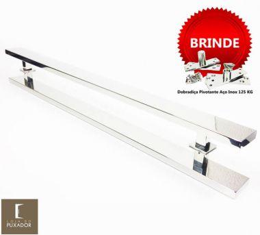 Puxador Portas Duplo Aço Inox Polido Grand Clean 2,5 m para portas: pivotantes/madeira/vidro temperado/porta alumínio e portões