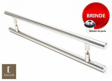 Puxador Portas Duplo Aço Inox Polido Grand Soft 1,5 m para portas: pivotantes/madeira/vidro temperado/porta alumínio e portões