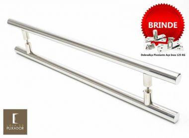 Puxador Portas Duplo Aço Inox Polido Grand Soft 1,8 m para portas: pivotantes/madeira/vidro temperado/porta alumínio e portões
