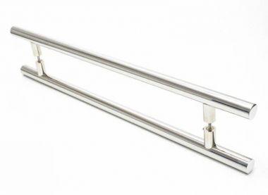 Puxador Portas Duplo Aço Inox Polido Grand Soft 2,5 m para portas: pivotantes/madeira/vidro temperado/porta alumínio e portões