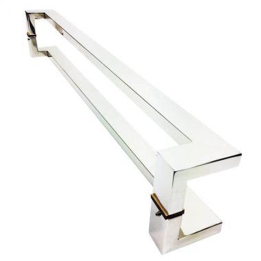 Puxador Portas Duplo Aço Inox Polido Grécia 50 cm para portas: pivotantes/madeira/vidro temperado/porta alumínio e portões