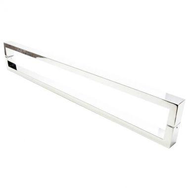 Puxador Portas Duplo Aço Inox Polido Greco 50 cm para portas: pivotantes/madeira/vidro temperado/porta alumínio e portões
