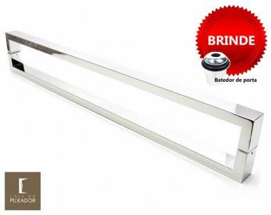 Puxador Portas Duplo Aço Inox Polido Greco 80 cm para portas: pivotantes/madeira/vidro temperado/porta alumínio e portões
