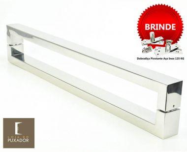 Puxador Portas Duplo Aço Inox Polido Hércules 2,5 m para portas: pivotantes/madeira/vidro temperado/porta alumínio e portões
