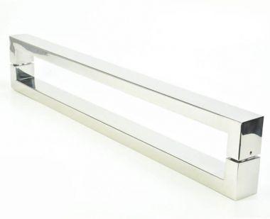 Puxador Portas Duplo Aço Inox Polido Hércules 4 m para portas: pivotantes/madeira/vidro temperado/porta alumínio e portões