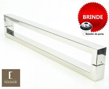 Puxador Portas Duplo Aço Inox Polido Hércules 80 cm para portas: pivotantes/madeira/vidro temperado/porta alumínio e portões