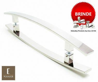 Puxador Portas Duplo Aço Inox Polido Lugui 1,8 m para portas: pivotantes/madeira/vidro temperado/porta alumínio e portões