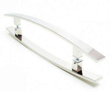 Puxador Portas Duplo Aço Inox Polido Lugui 1 m para portas: pivotantes/madeira/vidro temperado/porta alumínio e portões
