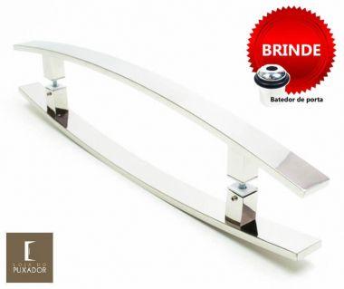 Puxador Portas Duplo Aço Inox Polido Lugui 80 cm para portas: pivotantes/madeira/vidro temperado/porta alumínio e portões