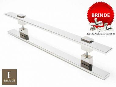 Puxador Portas Duplo Aço Inox Polido Luma 1,8 m para portas: pivotantes/madeira/vidro temperado/porta alumínio e portões