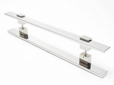 Puxador Portas Duplo Aço Inox Polido Luma 1 m para portas: pivotantes/madeira/vidro temperado/porta alumínio e portões