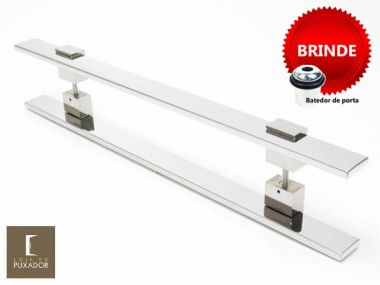 Puxador Portas Duplo Aço Inox Polido Luma 80 cm para portas: pivotantes/madeira/vidro temperado/porta alumínio e portões