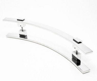 Puxador Portas Duplo Aço Inox Polido Paola 60 cm para portas: pivotantes/madeira/vidro temperado/porta alumínio e portões.