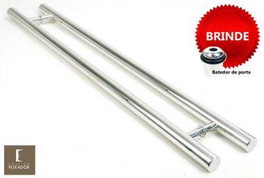 Puxador Portas Duplo Aço Inox Polido Pleno 1,1 m para portas: pivotantes/madeira/vidro temperado/porta alumínio e portões