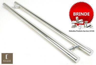 Puxador Portas Duplo Aço Inox Polido Pleno 2,5 m para portas: pivotantes/madeira/vidro temperado/porta alumínio e portões