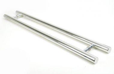 Puxador Portas Duplo Aço Inox Polido Pleno 2 m para portas: pivotantes/madeira/vidro temperado/porta alumínio e portões