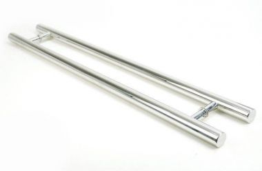Puxador Portas Duplo Aço Inox Polido Pleno 50 cm para portas: pivotantes/madeira/vidro temperado/porta alumínio e portões