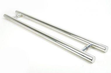Puxador Portas Duplo Aço Inox Polido Pleno 80 cm para portas: pivotantes/madeira/vidro temperado/porta alumínio e portões