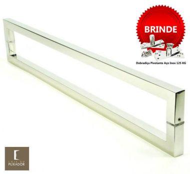 Puxador Portas Duplo Aço Inox Polido Slin 2 m para portas: pivotantes/madeira/vidro temperado/porta alumínio e portões
