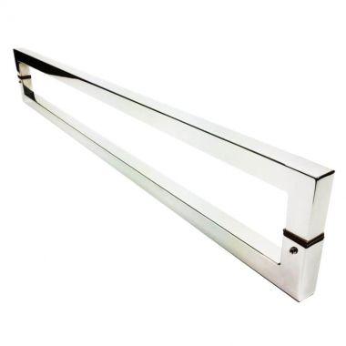 Puxador Portas Duplo Aço Inox Polido Slin 40 cm para portas: pivotantes/madeira/vidro temperado/porta alumínio e portões