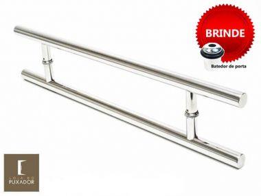 Puxador Portas Duplo Aço Inox Polido Soft 1,1 m para portas: pivotantes/madeira/vidro temperado/porta alumínio e portões