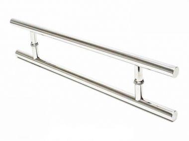 Puxador Portas Duplo Aço Inox Polido Soft 1,5 m para portas: pivotantes/madeira/vidro temperado/porta alumínio e portões