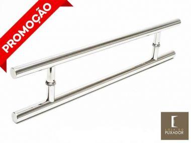 Puxador Portas Duplo Aço Inox Polido Soft 50 cm para portas: pivotantes/madeira/vidro temperado/porta alumínio e portões