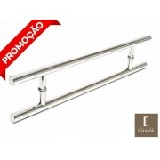 Puxador Portas Duplo Aço Inox Polido Soft 80 cm para portas: pivotantes/madeira/vidro temperado/porta alumínio e portões