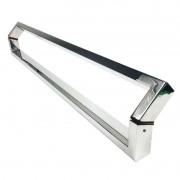Puxador Portas Duplo Aço Inox Polido Style 50 cm para portas: pivotantes/madeira/vidro temperado/porta alumínio e portões