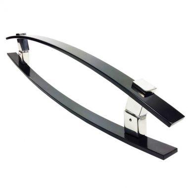 Puxador Portas Duplo Aço Inox Preto Alba 40 cm para portas: pivotantes/madeira/vidro temperado/porta alumínio e portões