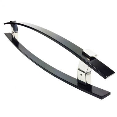 Puxador Portas Duplo Aço Inox Preto Alba 60 cm para portas: pivotantes/madeira/vidro temperado/porta alumínio e portões