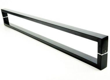 Puxador Portas Duplo Aço Inox Preto Greco 1 m para portas: pivotantes/madeira/vidro temperado/porta alumínio e portões