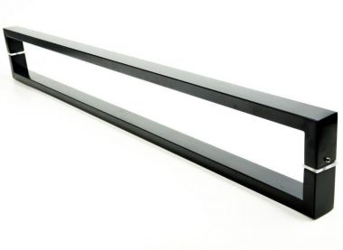 Puxador Portas Duplo Aço Inox Preto Greco 30 cm para portas: pivotantes/madeira/vidro temperado/porta alumínio e portões