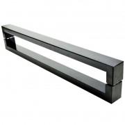 Puxador Portas Duplo Aço Inox Preto Hércules 1,1 m para portas: pivotantes/madeira/vidro temperado/porta alumínio e portões