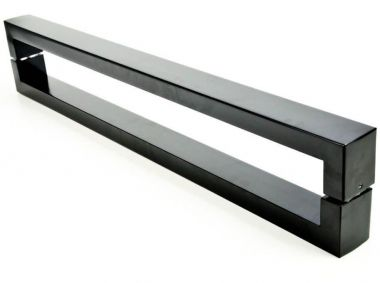 Puxador Portas Duplo Aço Inox Preto Hércules 1,5 m para portas: pivotantes/madeira/vidro temperado/porta alumínio e portões