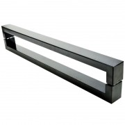 Puxador Portas Duplo Aço Inox Preto Hércules 1,8 m para portas: pivotantes/madeira/vidro temperado/porta alumínio e portões