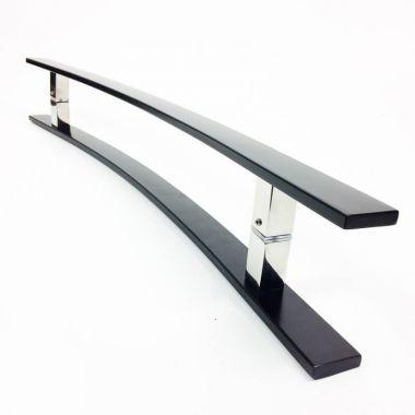 Puxador Portas Duplo Aço Inox Preto Novita 1 m para portas: pivotantes/madeira/vidro temperado/porta alumínio e portões.
