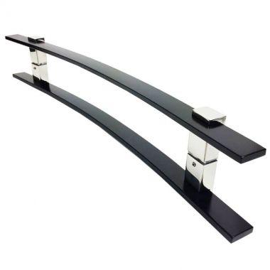 Puxador Portas Duplo Aço Inox Preto Paola 1 m para portas: pivotantes/madeira/vidro temperado/porta alumínio e portões.
