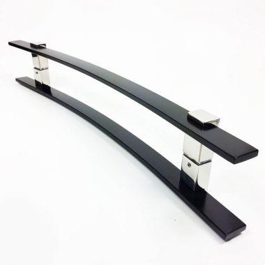 Puxador Portas Duplo Aço Inox Preto Paola 80 cm para portas: pivotantes/madeira/vidro temperado/porta alumínio e portões.