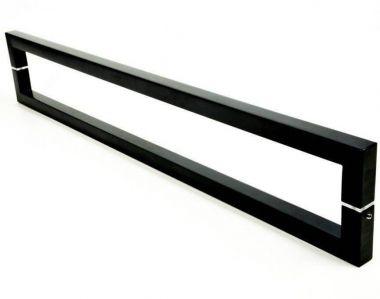 Puxador Portas Duplo Aço Inox Preto Slin 2 m para portas: pivotantes/madeira/vidro temperado/porta alumínio e portões