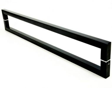 Puxador Portas Duplo Aço Inox Preto Slin 60 cm para portas: pivotantes/madeira/vidro temperado/porta alumínio e portões
