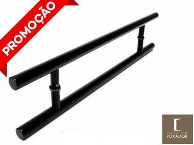Puxador Portas Duplo Aço Inox Preto Soft 1 m para portas: pivotantes/madeira/vidro temperado/porta alumínio e portões