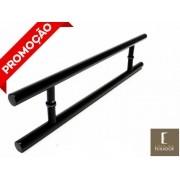 Puxador Portas Duplo Aço Inox Preto Soft 50 cm para portas: pivotantes/madeira/vidro temperado/porta alumínio e portões