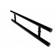 Puxador Portas Duplo Aço Inox Preto Soft 80 cm para portas: pivotantes/madeira/vidro temperado/porta alumínio e portões
