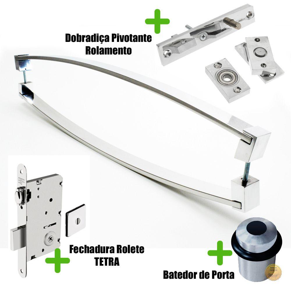 Puxador Porta (DELTA) Aço Inox Polido + fechadura rolete inox polido +Batedor de porta polido + Dobradiça pivotante rolamento 100kg  - Loja do Puxador