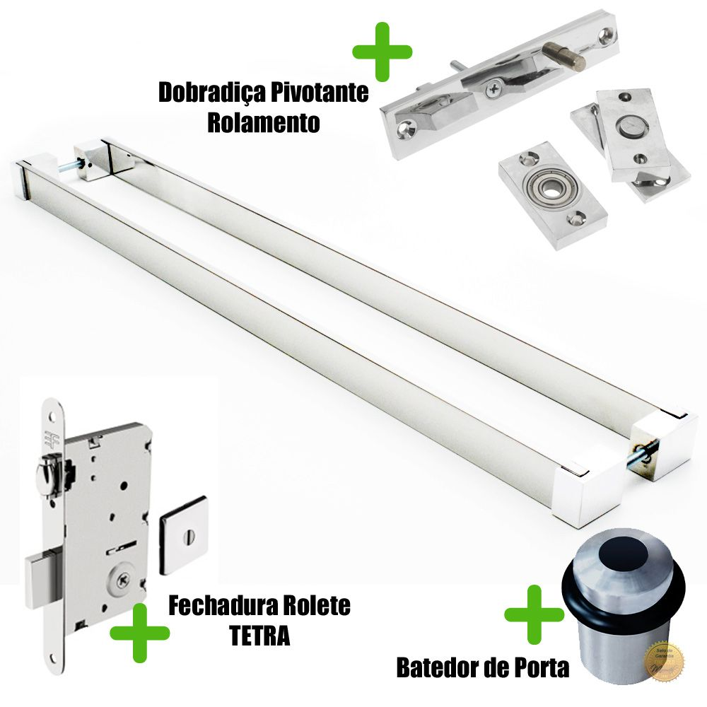 Puxador Porta (LIAN) Aço Inox Polido + fechadura rolete inox polido +Batedor de porta polido +Dobradiça pivotante rolamento 100kg  - Loja do Puxador