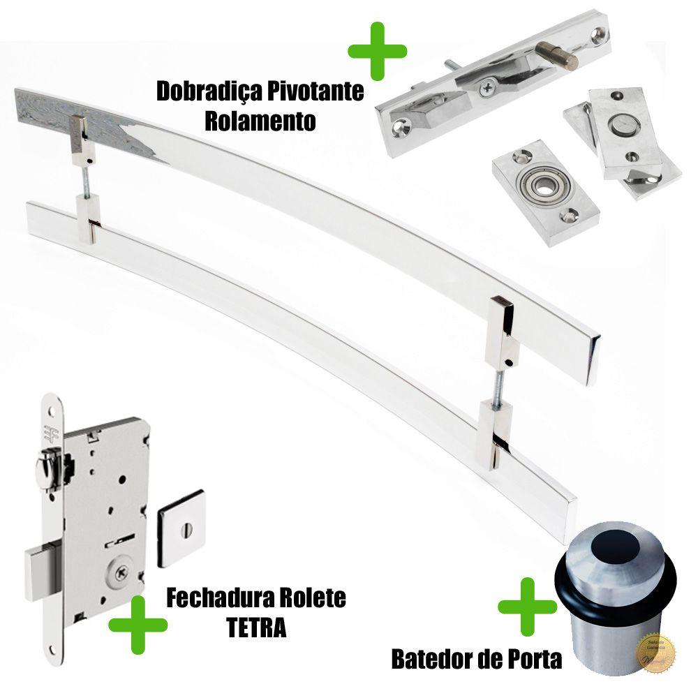 Puxador Porta (SAMURAI) Aço Inox Polido + fechadura rolete inox polido +Batedor de porta polido + Dobradiça pivotante rolamento 100kg  - Loja do Puxador
