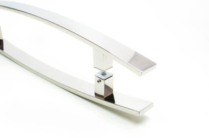 Puxador Portas Duplo Aço Inox Polido Lugui 1,1 m para portas: pivotantes/madeira/vidro temperado/porta alumínio e portões   - Loja do Puxador