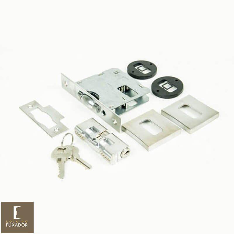 Fechadura STAM Trinco Rolete Pivotante com roseta quadrada 70 MM ( PORTA GROSSA ATÉ 5,5CM ) ESCOVADO  - Loja do Puxador