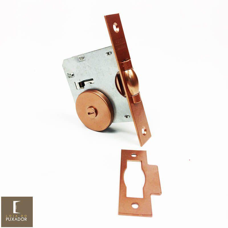 Fechadura STAM Trinco Rolete Pivotante para banheiro WC REDONDA COBRE ACETINADO   - Loja do Puxador